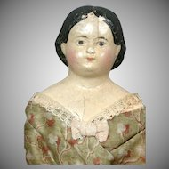 "Early 14.5"" Antique Paper Mache Doll circa 1850~Wonderful All Original Costume~Wooden Limbs!"