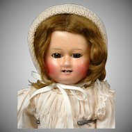 Darling Motschmann Wax over Paper Mache Antique Doll 14""