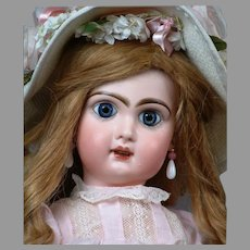 """French All Antique 22"""" Bebe Jumeau with Original Wig & Signed Jumeau Shoes--WOW!"""