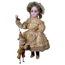 """20"""" French Musical Automaton by Leopold Lambert-Bourgeois, """"The Marionette Player"""" circa 1889 Featuring 5 Movements & Music"""