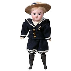"Antique Bisque Boy Doll 9"" in Sailor Costume"