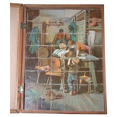 Antique Lithograph Wooden Block Puzzle in Box with Reference Sheets c.1900
