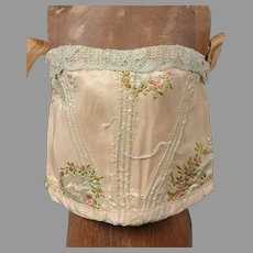 Delightfully Embroidered Jumeau Corset c 1875