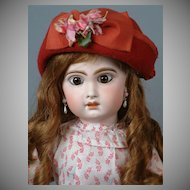 "22"" Jumeau Bebe in Antique Print Dress with Original Wig & Pate"