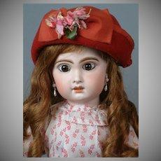"22"" Jumeau Bebe in Antique Print Dress with Original Wig & Pate"