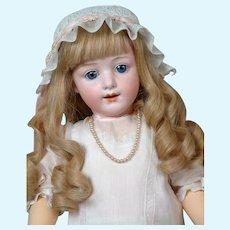 "22.5"" Rare Gebruder Heubach Smiling Character #5689 in Original Antique Silk Dress"