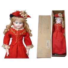 "Rare Alt Beck & Gottschalk 870 Turned-Head Closed Mouth Fashion Girl 18"" in in Original Box and Costume circa 1885"