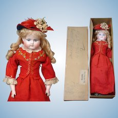 "Rare Alt Beck & Gottschalk 870 Turned-Head Closed Mouth Fashion Girl 18"" in in Original Box and Costume circa 1885"