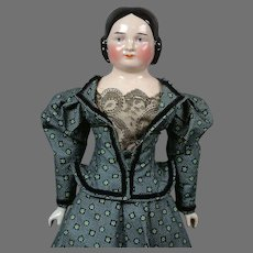"""Antique China 22.5"""" Young Lady Doll with Unique Face in Civil War Style Vintage Costume"""