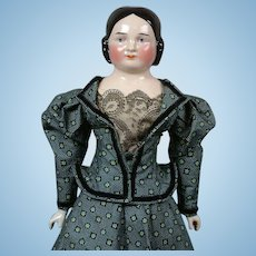 "Antique China 22.5"" Young Lady Doll with Unique Face in Civil War Style Vintage Costume"