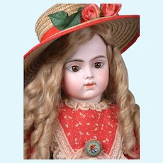 """27"""" Bru Jeune R 12 French Bebe on Signed Bru Composition Body circa 1889-1899 in Red Costume"""