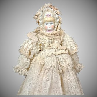 """Enchanting 13.5"""" Tinted Bisque Bonnet Head in Elaborate Lace Dress c. 1900"""