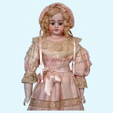 """Exceptional Simon & Halbig 1010 Bisque Doll in Silk Mauve Gown 28"""" HUGE"""