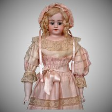 "Exceptional Simon & Halbig 1010 Bisque Doll in Silk Mauve Gown 28"" HUGE"
