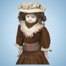 "Charming 19"" Wax over Papier-Mache Doll"