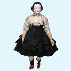 """All-Original RARE Antique China Lady with Original Antique Costume 21.5"""""""