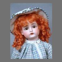 """Kestner 167 13"""" Antique Bisque Character in Blue Plaid Dress"""