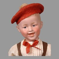 "Laughing Character Boy by Gebruder Heubach 19.5"" in Cute Costume"