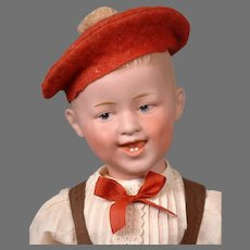 """Laughing Character Boy by Gebruder Heubach 19.5"""" in Cute Costume"""
