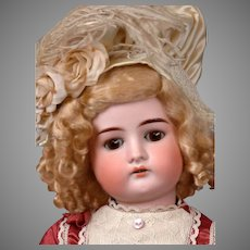 """Cuno Otto Dressel 1912 Antique Bisque Child Doll in Maroon Bebe-Style Frock 22"""""""