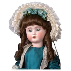 "German Bisque Child Doll in Presentation Blue Dress and Bonnet 23"""