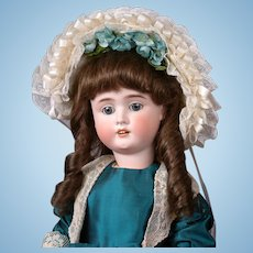German Bisque Child Doll in Presentation Blue Dress and Bonnet 23""