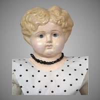"Unusual German  25"" Blond Papier-Mâché Doll Cir. 1880"