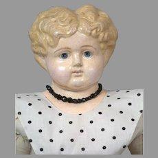 "Unusual German  25"" Blond Papier-Mâché Doll Cir. 1880"
