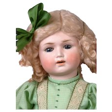 Limbach Porzellanfabrik Antique Bisque Frowning Child Doll in Lime Green Dress 19""
