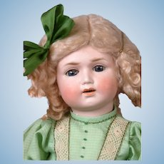 """Limbach Porzellanfabrik Antique Bisque Frowning Child Doll in Lime Green Dress 19"""""""