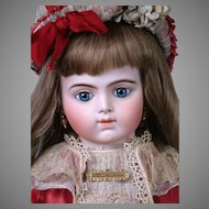 "27"" Bru Jeune R 12 French Bebe on Signed Bru Composition Body circa 1889-1899 in Red Costume"