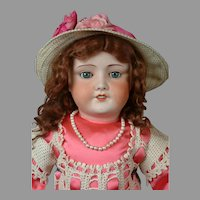 "UNIS 301 Antique French Bebe Bisque Child Doll 29"" in Cute Pink Costume"