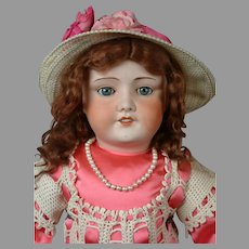 """UNIS 301 Antique French Bebe Bisque Child Doll 29"""" in Cute Pink Costume"""