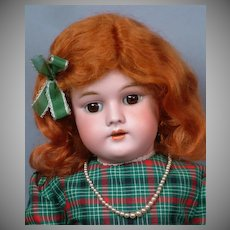 "Handwerck 99 Antique Bisque 22"" Doll in Red and Green Plaid Dress"