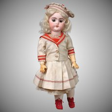 "Sweet 15"" Simon & Halbig 1079 Antique Bisque Doll in Pretty Antique Sailor Dress & Original Wig"