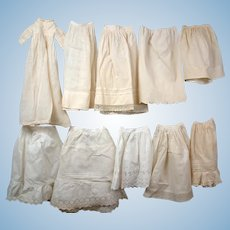 Group of  8 Antique Half Slips and One Baby Gown with Matching Slip