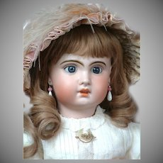 "French All Antique 26"" Bebe Jumeau 11 with Blue Sleep Eyes & Lovely Antique Lacy Costume circa 1895!"