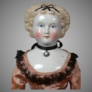"""Elegant 21"""" Antique Blond China Lady With Black Hair Bow"""