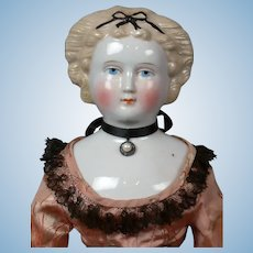 "Elegant 21"" Antique Blond China Lady With Black Hair Bow"