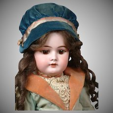 All-Original Handwerck 99 Antique Bisque Doll Original Costume 21""