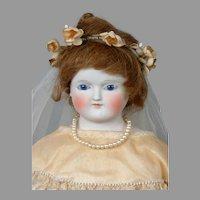 "Antique German Fashion Poupee Bride in Lace-Trimmed Wedding Costume 21"""