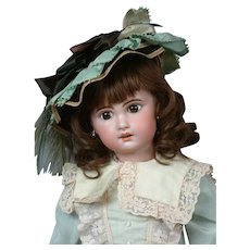 "Charming 20"" Bebe Jumeau 1907 Size 9 Bebe with Original Paperweight Eyes & Human Hair Wig"