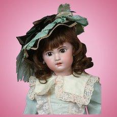 "Charming 20"" Bebe Jumeau 1907 Size 9 Bebe with Original Paperweight Eyes & Human Hair Wig"