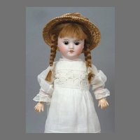 "Adorable 11.5"" (29 cm) SFBJ "" Almost Bleuette "" Doll in Antique White Dress"