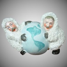 RARE North Pole Explorers Peary and Cook Globe Snowbaby Original German Antique