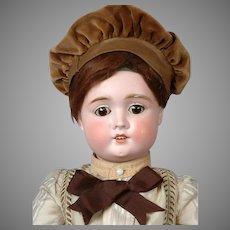 "Antique German Bisque Boy Doll in Cute Brown Costume 24"""