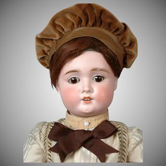 Antique German Bisque Boy Doll in Cute Brown Costume 24""