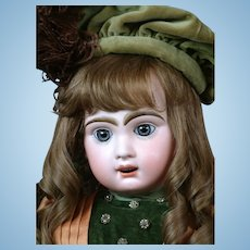 """French 26"""" Bebe Jumeau 12 with Blue Paperweight & Lovely Couture Frock circa 1895!"""
