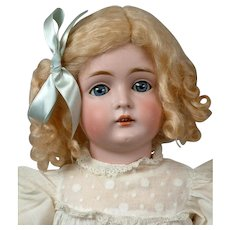 Kestner 129 Antique Bisque Child Girl Doll in White 19""