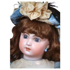 "French 26"" Tete Jumeau Bebe 11 with Blue Paperweight Eyes & Lovely  Costume circa 1890!"
